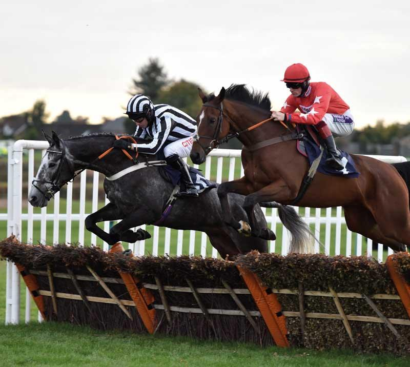 Two jockeys on horses jumping over a hurdle.