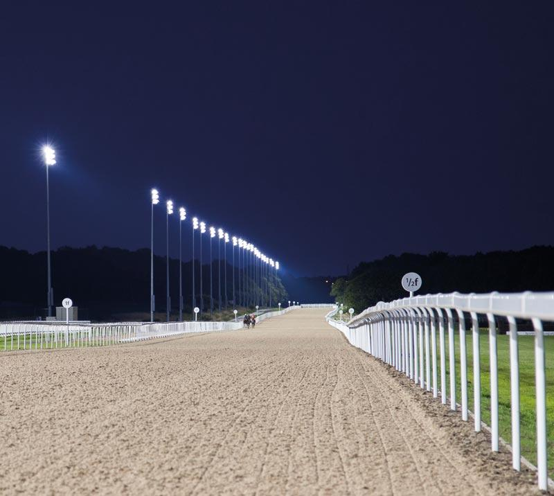 Race track at night.