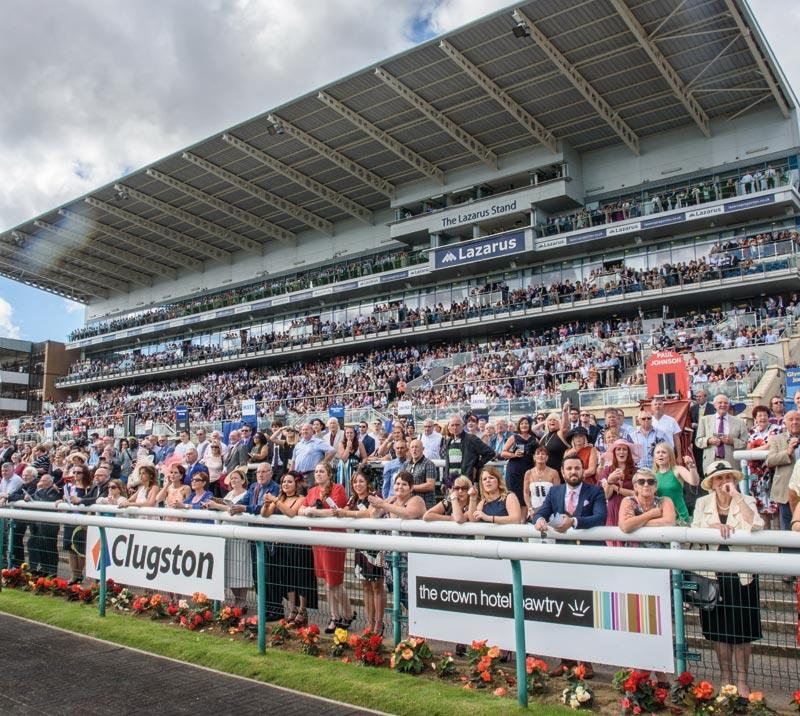 A view of a racecourse grandstand